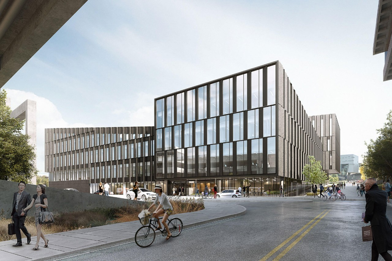 Rendering of the north entrance to the new Lindner College of Business building
