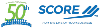 "SCORE logo with 50th anniversary icon and ""For the life of your business"" tagline"