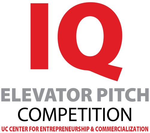 IQ Elevator Pitch Competition logo with UC Center for Entrepreneurship & Commercialization tagline