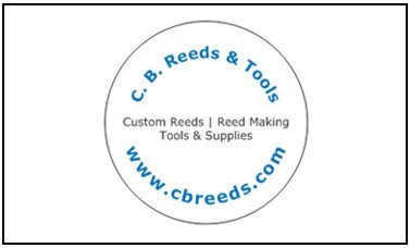 C.B. Reeds & Tools logo with Custom Reeds, Reed Making, Tools & Supplies tagline and www.cbreeds.com address