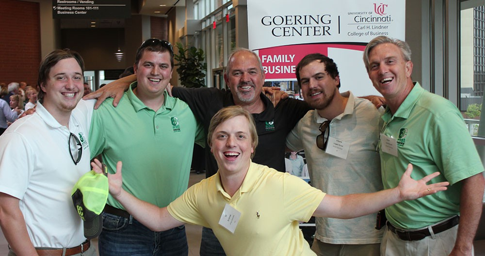 Six members of the Ernst Concrete team pose at a Goering Center event
