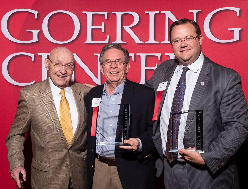 John Goering, left, Mike Sipple, Sr., center, and Mike Sipple, Jr.,  right