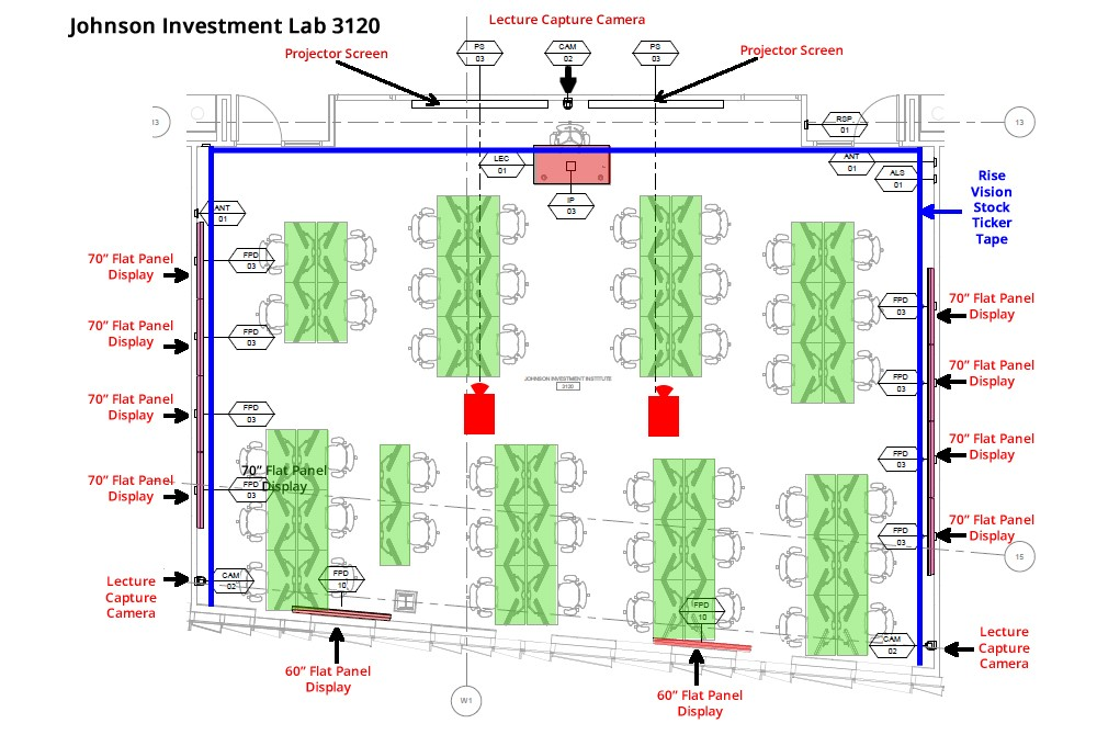 Rendering of the Johnson Investment Lab floor plan