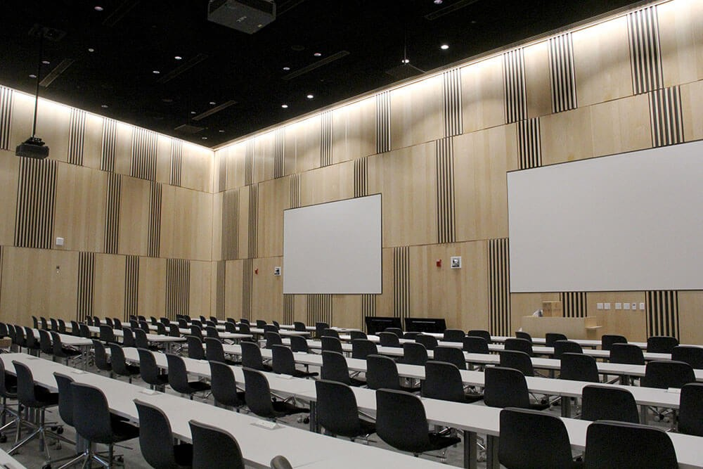 Rendering of the 150-seat lecture hall in the new Lindner College of Business building