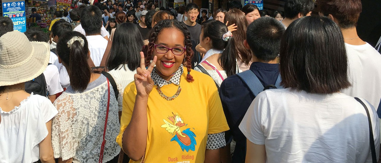 Lindner student Kalea Lucas posing on a busy street in South Korea